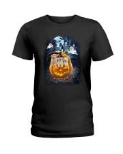 Golden Retriever in pumpkin carriage 0208 Ladies T-Shirt thumbnail