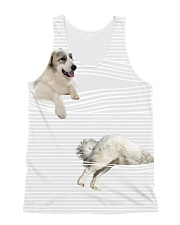 Great Pyrenees stripped All-over Unisex Tank front