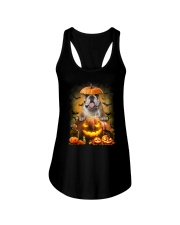 Bulldog And Pumpkin Ladies Flowy Tank thumbnail
