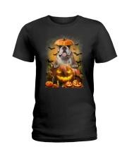 Bulldog And Pumpkin Ladies T-Shirt thumbnail