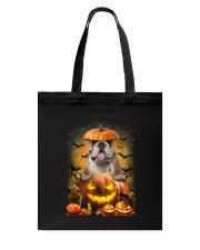 Bulldog And Pumpkin Tote Bag thumbnail