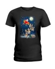 Dog And Santa Reindeer 0410 Ladies T-Shirt thumbnail