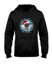 Pug and snow flower Hooded Sweatshirt front