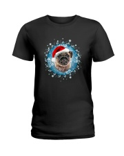 Pug and snow flower Ladies T-Shirt thumbnail
