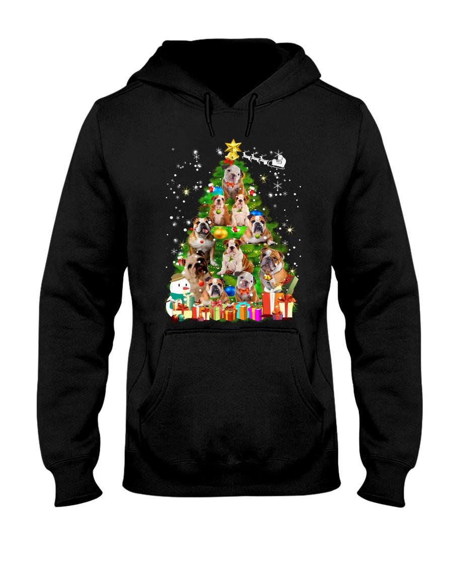 Bulldog Pine Tree  Hooded Sweatshirt
