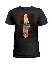 Golden Retriever Reflection Mug 1412 Ladies T-Shirt thumbnail