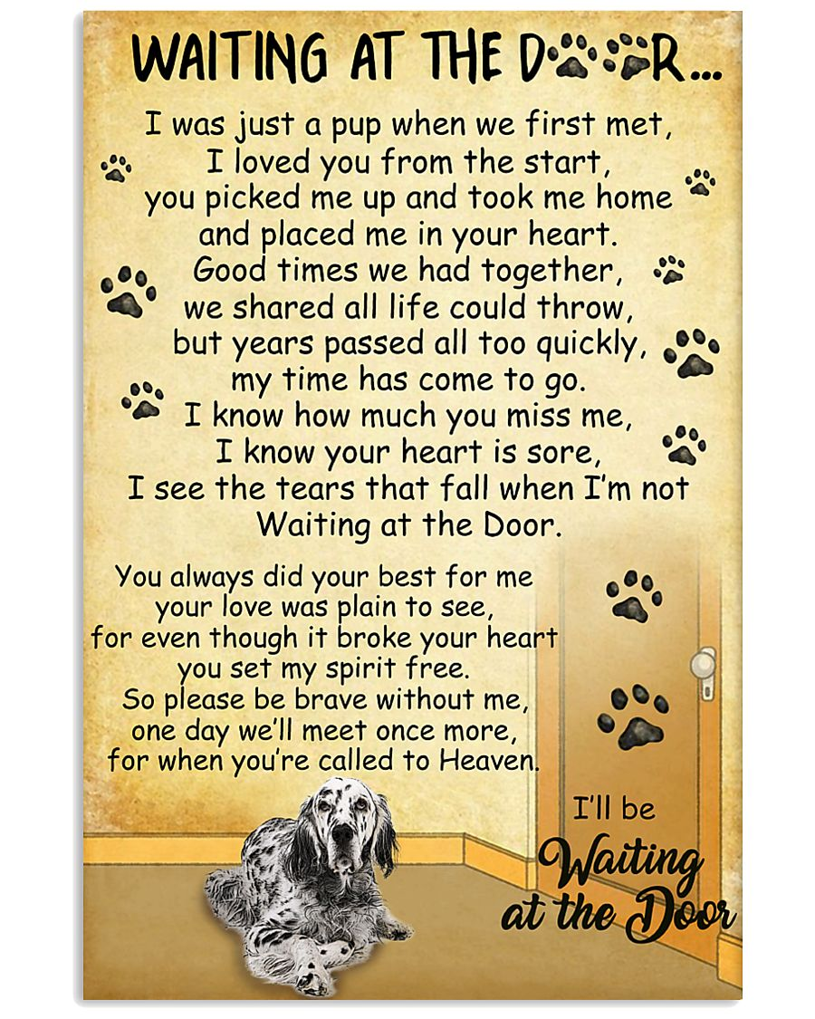 English Setter Waiting at The Door 11x17 Poster