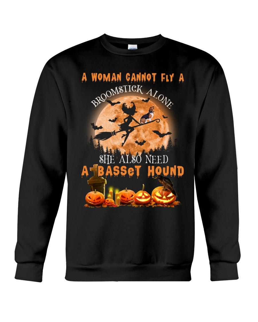 Basset Hound And Broomstick  Crewneck Sweatshirt