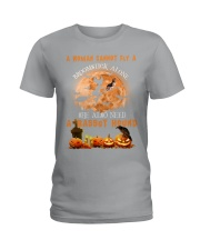Basset Hound And Broomstick  Ladies T-Shirt thumbnail