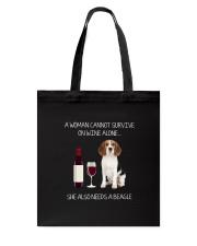 Beagle and Wine Tote Bag thumbnail