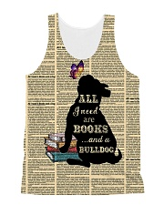 Bulldog and books 1311 All-over Unisex Tank front