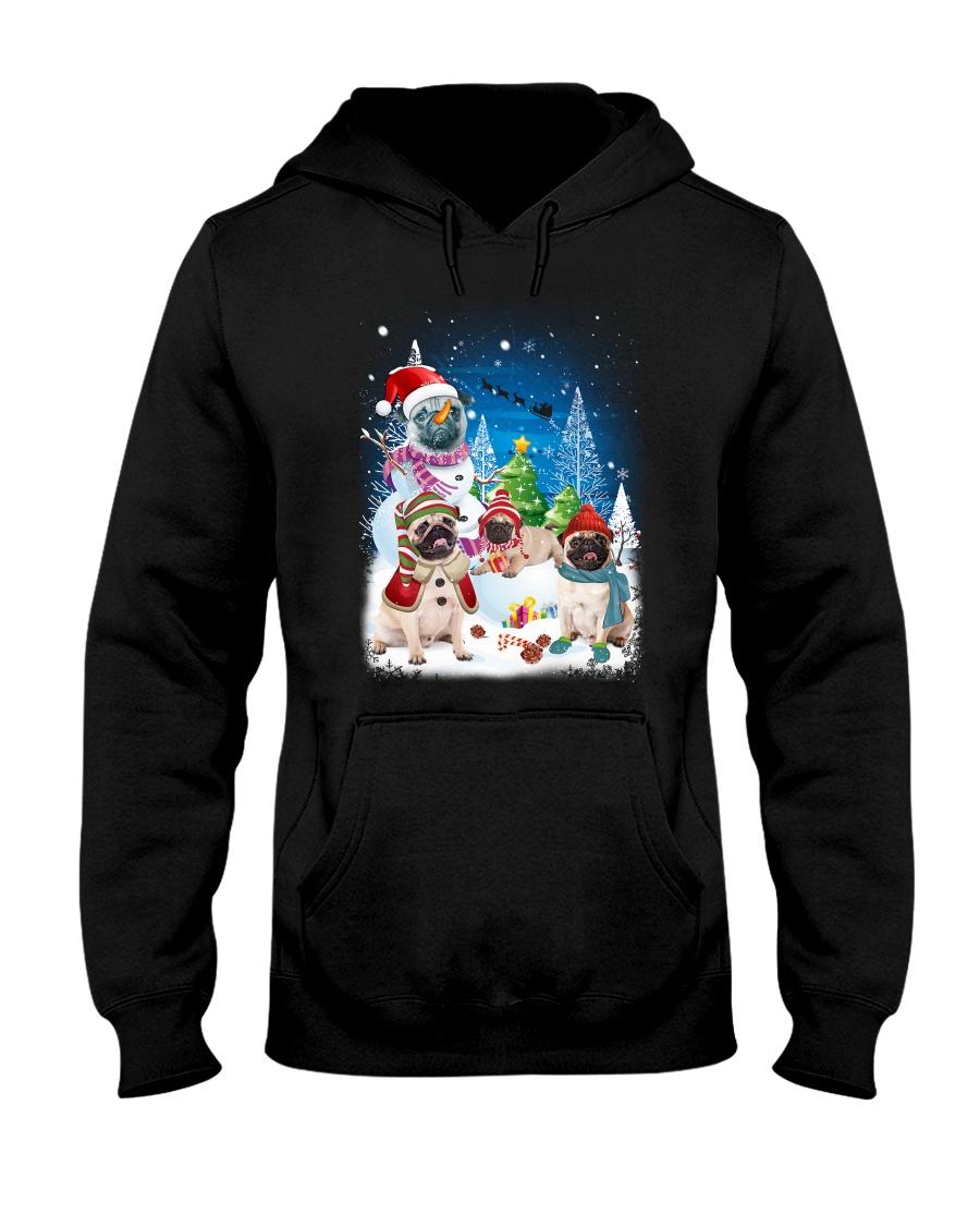 Pug Snowman 0809 Hooded Sweatshirt