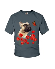 French Bulldog And Flowers Youth T-Shirt thumbnail