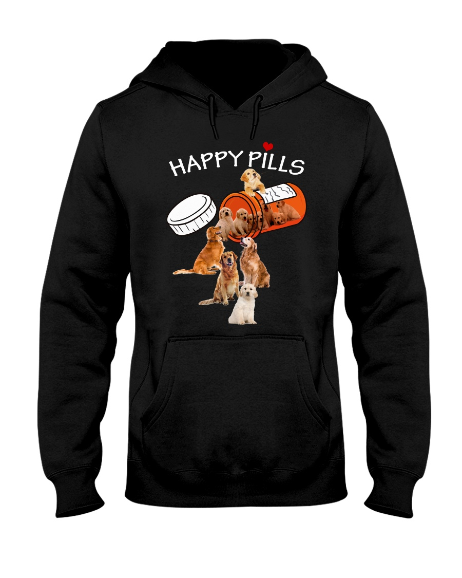 Golden Retriever Happy Pills 0210 Hooded Sweatshirt