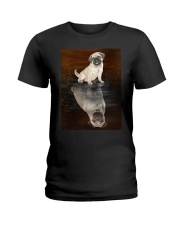Pug Reflection Mug 1412 Ladies T-Shirt thumbnail