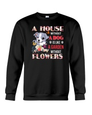 Dog and flowers Crewneck Sweatshirt front