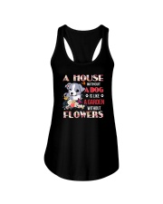 Dog and flowers Ladies Flowy Tank thumbnail