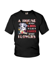 Dog and flowers Youth T-Shirt thumbnail
