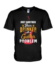 BEER DRINKER WITH GUITAR PROBLEM V-Neck T-Shirt thumbnail
