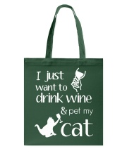 I Want To Drink Wine And Pet My Cat Cat Wine Tote Bag thumbnail