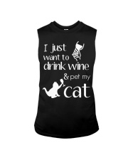 I Want To Drink Wine And Pet My Cat Cat Wine Sleeveless Tee thumbnail