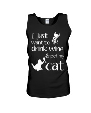 I Want To Drink Wine And Pet My Cat Cat Wine Unisex Tank thumbnail
