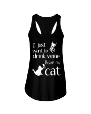 I Want To Drink Wine And Pet My Cat Cat Wine Ladies Flowy Tank thumbnail