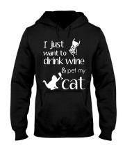 I Want To Drink Wine And Pet My Cat Cat Wine Hooded Sweatshirt thumbnail
