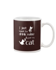 I Want To Drink Wine And Pet My Cat Cat Wine Mug thumbnail