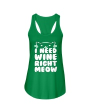 I NEED WINE RIGHT MEOW Cat Wine Ladies Flowy Tank front