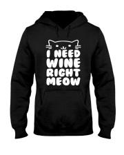 I NEED WINE RIGHT MEOW Cat Wine Hooded Sweatshirt thumbnail