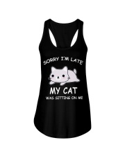 I Am Late My Cat Was Sitting On Me Cat Ladies Flowy Tank tile