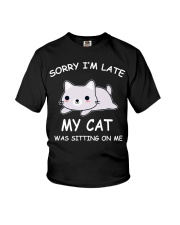 I Am Late My Cat Was Sitting On Me Cat Youth T-Shirt tile