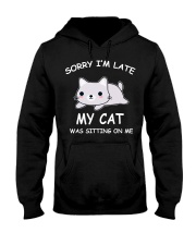 I Am Late My Cat Was Sitting On Me Cat Hooded Sweatshirt tile