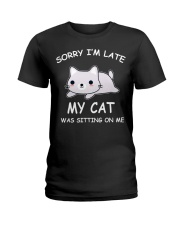 I Am Late My Cat Was Sitting On Me Cat Ladies T-Shirt thumbnail