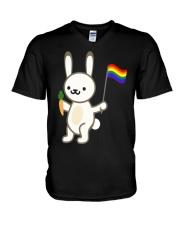 Rabbit Bunny LGBT Pride Flag Easter Shirt V-Neck T-Shirt thumbnail