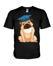Pug Graduation Cap 2 V-Neck T-Shirt thumbnail