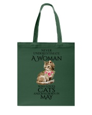 A Woman Loves Cats Born In May T-Shirt Tote Bag thumbnail