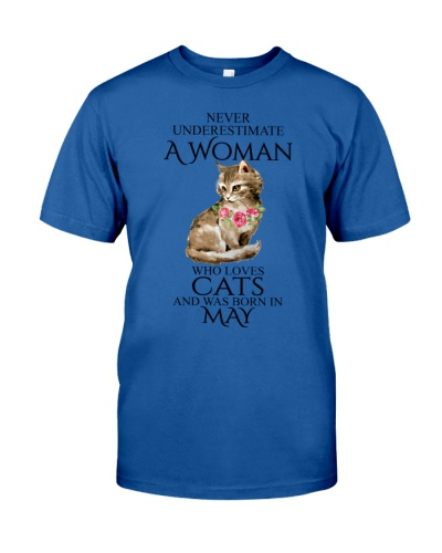 A Woman Loves Cats Born In May T-Shirt