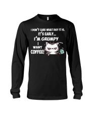 I'm Grumpy I Want Coffee Grumpy Coffee Cat Long Sleeve Tee thumbnail