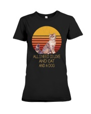 All I Need Is Love And Cat And A Dog Vintage Premium Fit Ladies Tee thumbnail