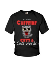 I Run On Caffeine Cats Cuss Words Cat Youth T-Shirt thumbnail