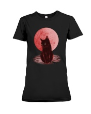 Cat Moon T shirt Premium Fit Ladies Tee tile