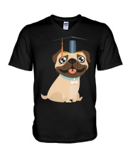 Pug Graduation Cap 1 V-Neck T-Shirt thumbnail