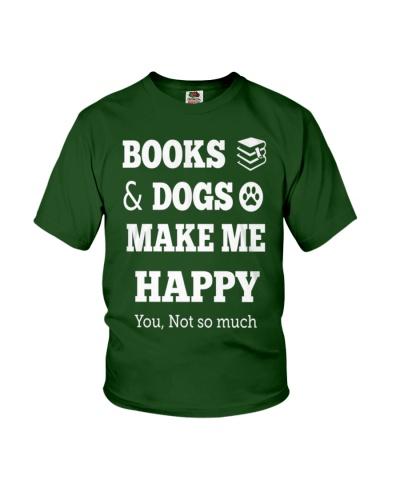 Books and dogs make me happy