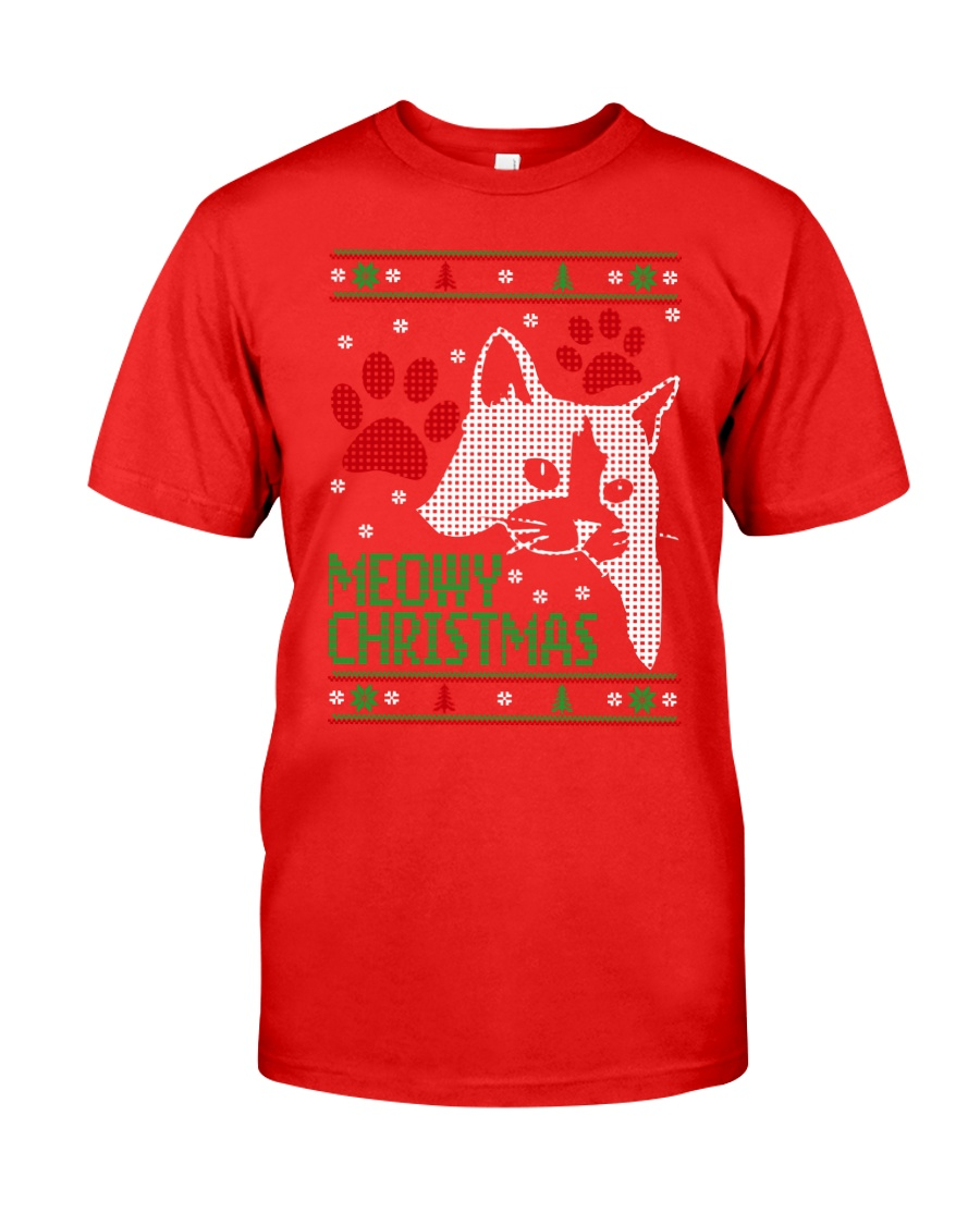 Meowy Ugly Christmas Sweaters - Ugly Sweater Classic T-Shirt showcase