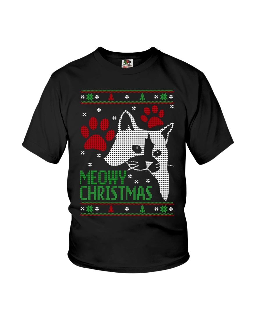 Meowy Ugly Christmas Sweaters - Ugly Sweater Youth T-Shirt