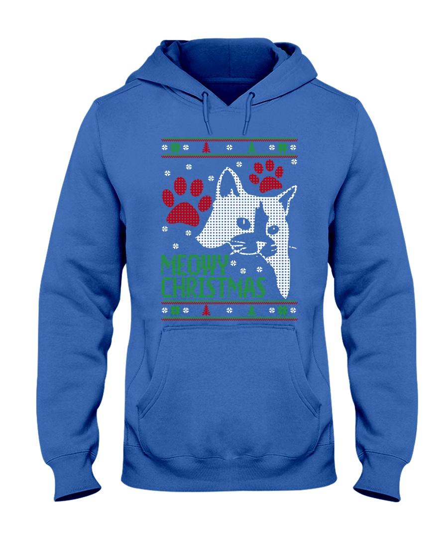 Meowy Ugly Christmas Sweaters - Ugly Sweater Hooded Sweatshirt