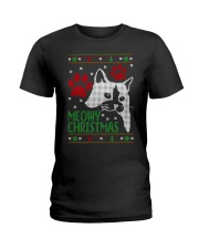 Meowy Ugly Christmas Sweaters - Ugly Sweater Ladies T-Shirt thumbnail