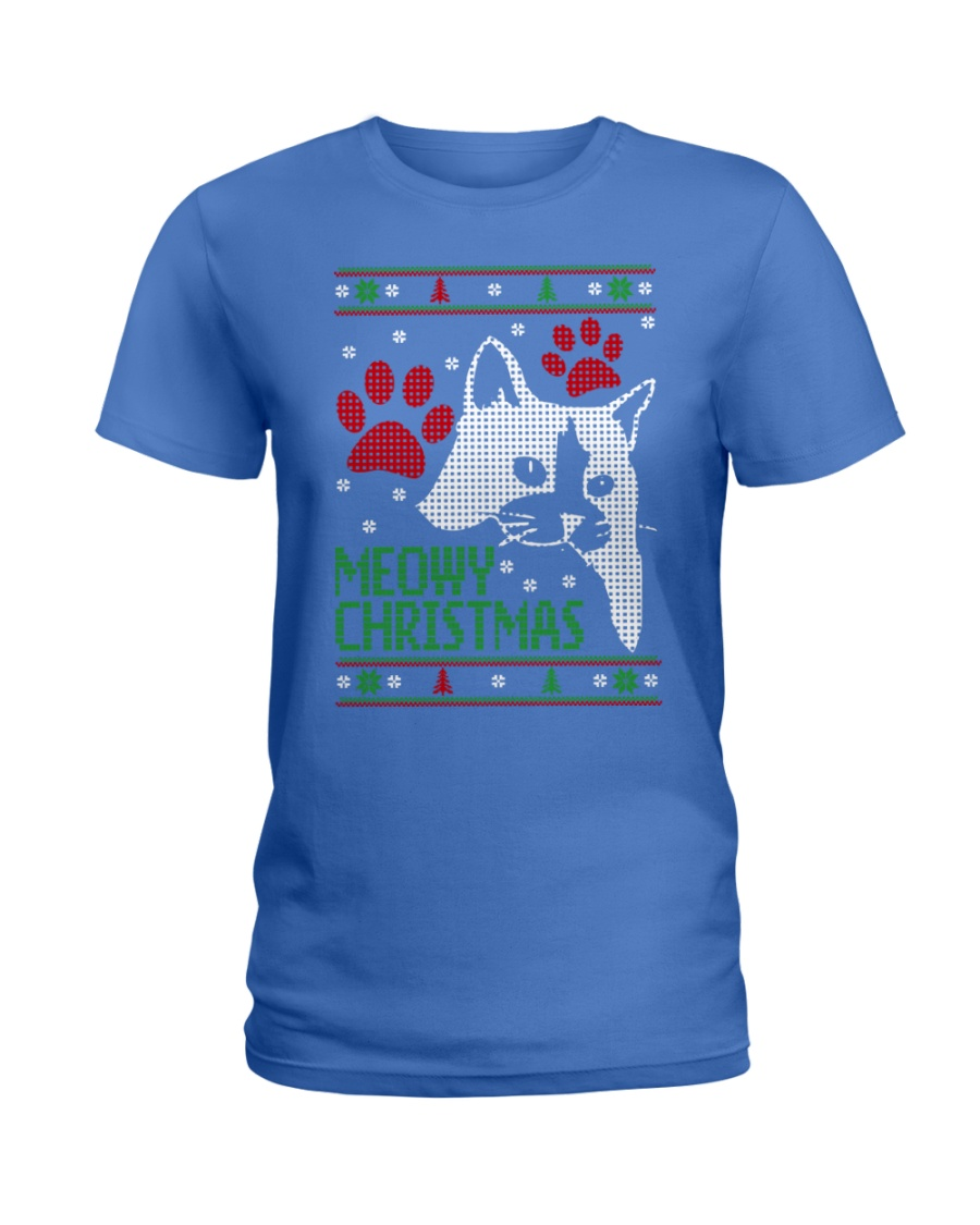Meowy Ugly Christmas Sweaters - Ugly Sweater Ladies T-Shirt